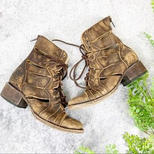 Freebird Heaven Leather Tan Lace Up Boots